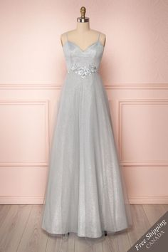 Grey sparkly mesh and tulle A-line gown with floral embroidery and sequins. Wedding Gowns With Sleeves, Long Sleeve Wedding, Wedding Dresses, Sparkly Gown, A Line Gown, Short Dresses, Formal Dresses, Clothing Items, Vestidos
