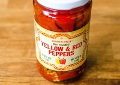 17 Favorite Trader Joe's Products That Our Readers Love — Yellow and Red Roasted Peppers—perfect ingredients for ez veggie apps.