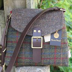 Harris Tweed Shoulder bag An incredibly stylish and well proportioned bag, entirely handmade from brown tweed and olive, red and blue window pane Harris tweed. onemoregift.co.uk/ Clothing, Shoes & Jewelry - Women - handmade handbags & accessories - http://amzn.to/2kdX3h7