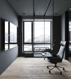 All minimalist interior of a mountain luxury cabin with avantgarde furniture. Desk is hanging from the ceiling. Black Square Coffee Table, White Dining Set, Dining Pendant, Wood Slat Wall, Recessed Spotlights, Interior Minimalista, Sweet Home, Home Room Design, Luxury Cabin