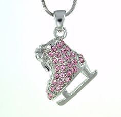 W Swarovski Crystal Charm ICE SKATING Figure FROZEN Pink Pendant Necklace Gift