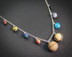 Gemstone Solar System Necklace: Silver // Planet Earth Moon Stars Jewelry // Science Space Travel Nerd // Rocket Star Ship // Scifi // Nerd #jewelry