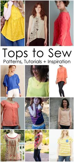 Sewing Top Must make all of these. Great list of sewing patterns and inspiration for women tops and shirts. - 12 fantastic Top sewing patters and inspiration for women and a great monthly sew along Sewing Patterns Free, Free Sewing, Clothing Patterns, Shirt Patterns For Women, Vogue Patterns, Women's Sewing Patterns, Vintage Patterns, Vintage Sewing, Dress Patterns