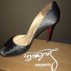 Authentic Christian Louboutin satin peep toe Pewter color satin peep toe stilettos.  Beautiful dress shoe for a night on the town or a summer wedding! Christian Louboutin Shoes