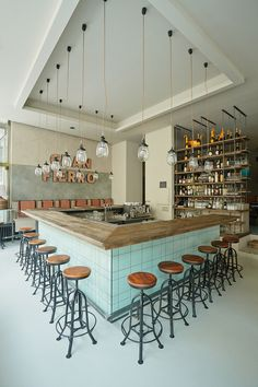 formafatal completes argentinean gran fierro restaurant in prague // Love the industrial chic and turquoise tiles Farmhouse Restaurant, Bar Restaurant, Restaurant Design, Restaurant Interiors, Prague Restaurants, Deco Cafe, Decoration Restaurant, Central Bar, Le Hangar