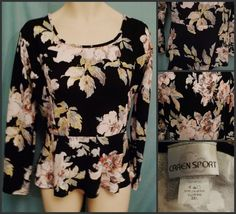 Peplum Top Size 2x Black Floral Stretchy textured Hi-Lo Long Sleeve #CarenSport #Peplum #Casual