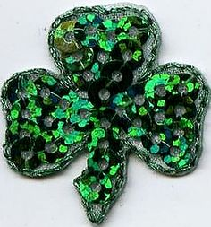 "Amazon.com: [Single Count] Custom and Unique (1.2"" x 1"" Inch) Shimmering St Patricks Day Irish Sequin Shamrock Iron On Embroidered Applique Patch {Green Color}"