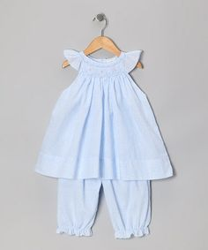 Take a look at this Blue Floral Angel-Sleeve Dress & Bloomers - Infant by Petit Pomme on #zulily today!