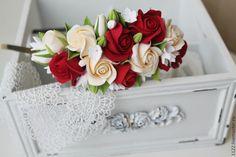 Ободок Чайные розы с красными - ярко-красный,подарок на 8 марта,полимерная глина deco