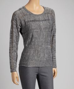Heather Gray Textured Sweater | Daily deals for moms, babies and kids