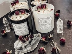 Luxury Scented soy handpoured candles with crystals and roses Make You Feel, How Are You Feeling, How To Make, Healing Stones, Crystal Healing, Rose Candle, Crystal Collection, Awesome Bedrooms, Clear Quartz
