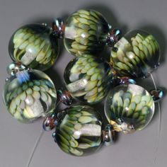 Ikuyoglassart Handmade Lampwork silver glass Bead set sra