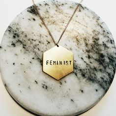 New hexagon #feminist necklace up in my Etsy shop // the future is female // nevertheless she persisted