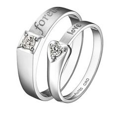 Millennium Love Diamond 18K White Gold Diamond Couple Ring Wedding Ring
