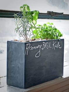 DIY chalkboard planter