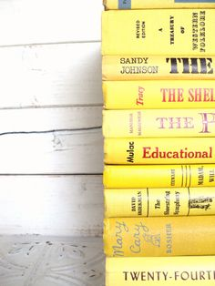 Yellow Instant Library Collection Vintage Decorative Books by Color Bundle Photography Props