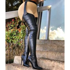 Take it to the next level with these amazing belted stiletto pointy boots. Made from a stretchy PU fabric that comes with an attached leather waist belt. Belt Thigh High Boots, High Top Boots, High Heel Boots, Heeled Boots, Boot Heels, Pointy Boots, Gladiator Boots, Sexy Legs And Heels, Sexy Boots