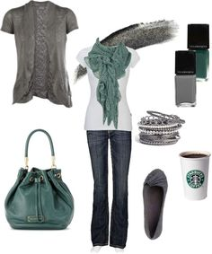 Ruched Back Hachi Cardigan  -  Gotta love the Starbuks coffee included in this outfit. So me!