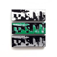 Philadelphia Skyline Canvas Set of 3 12 x 4 inches by iNKthePRINT