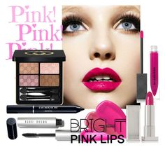 """""""Bright Pink Lips"""" by charlotte-clavier ❤ liked on Polyvore featuring beauty, Bobbi Brown Cosmetics, Tom Ford, Burberry, Lipstick Queen, Gucci and Christian Dior"""