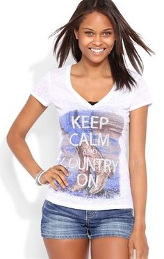 Deb Shops Short Sleeve Tee with Glitter Keep Calm and Country On Screen $12.00