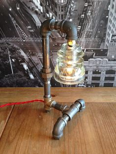 (new pictures) Steampunk Industrial Lamp Brass Vintage by TheVintageBulb on Etsy, $125.00