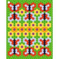 Free hexagonquilt idea, with flowers &butterfly, design by Dorte Rasmussen Denmark