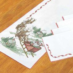 Herrschners® Vintage Santa Table Runner & Napkins Stamped Cross-Stitch