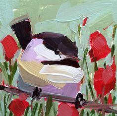 Chickadee no. 829 Original Bird Oil Painting by Angela Moulton