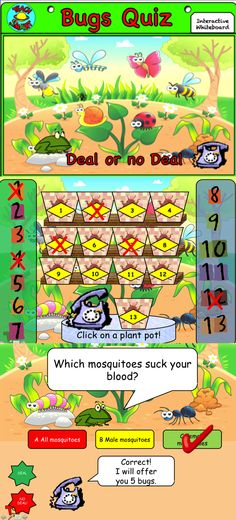 FREEBIE: A fun quiz on bugs based on the popular game show! This resource uses interactive buttons as part of a ppt slideshow which can be used on any interactive whiteboard. To enable run the ppt as a slideshow first.