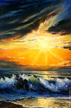 """Купить Морской пейзаж Картина маслом на холсте - """"Море в сиянии заката"""" - оранжевый, синий, желтый, картина маслом на холсте, картина маслом, картина маслом море, морской пейзаж, морской пейзаж маслом, авторская живопись, море, море живопись, морская волна, морская тема, морская тематика, филатова, филин-арт, яркая картина, картина маслом от автора, современная живопись, море картина"""