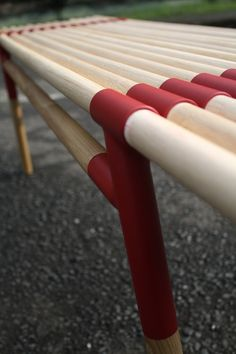 wood bench with aluminum pipes