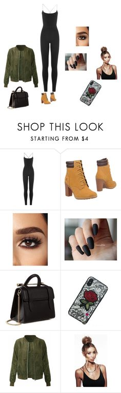 """Tims"" by tatianaalcaraz on Polyvore featuring Valentino, Timberland and Strathberry"