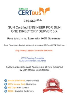 Candidate need to purchase the latest SUN 310-560 Dumps with latest SUN 310-560 Exam Questions. Here is a suggestion for you: Here you can find the latest SUN 310-560 New Questions in their SUN 310-560 PDF, SUN 310-560 VCE and SUN 310-560 braindumps. Their SUN 310-560 exam dumps are with the latest SUN 310-560 exam question. With SUN 310-560 pdf dumps, you will be successful. Highly recommend this SUN 310-560 Practice Test.