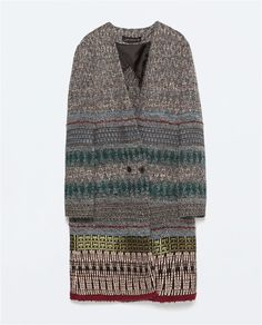 JACQUARD PATTERNED DOUBLE-BREASTED COAT from Zara