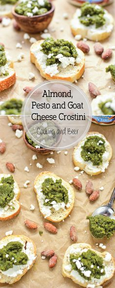 Almond Pesto and Goat Cheese Crostini: the perfect appetizer highlighting fresh herbs and almonds! #ad