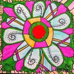 Pompom Button Project-students glued a pompom to their paper and drew radial designs around it to fill the composition
