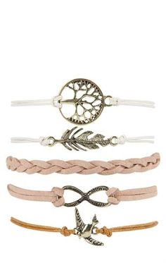 Deb Shops Set of 5 Inspirational Friendship Bracelet Set $10.00