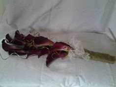 Calla lily over arm bridal bouquet