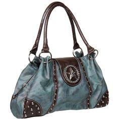 M&F Western Texas Star Shoulder Bag (Blue) Shoulder Handbags ($59) ❤ liked on Polyvore featuring bags, handbags, shoulder bags, blue, party purses, blue studded purse, paisley handbag, blue shoulder bag and blue handbags