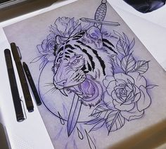 Har tegnet en tiger, som jeg godt kunne tænke mig at lave. (Bng eller farve - dm) ✒ #tattoo #sketch #drawing #tigertattoo #rose #komsåvenner
