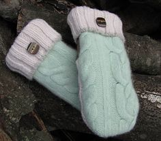Wool MIttens, MINT CHOCOLATE, Felted Wool, Fleece Lined, Recycled Sweater Wool (15)