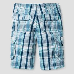 Boys' Cargo Shorts - Cat & Jack Blue Plaid 16