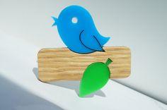 Stylish Woodland Bluebird Brooch by FireTheLaser on Etsy, £12.50