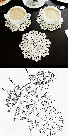 Crochet Coaster Pattern, Crochet Doily Diagram, Crochet Mandala, Crochet Flower Patterns, Crochet Chart, Crochet Squares, Thread Crochet, Crochet Doilies, Crochet Flowers