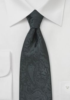 Elegant Black and Charcoal Paisley Necktie