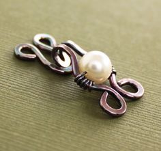 Handmade copper cardigan or sweater hook clasp for knit and fabric with white Swarovski pearl