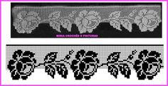Filet Crochet, Crochet Lace Edging, Crochet Borders, Cross Stitch Borders, Thread Crochet, Irish Crochet, Crochet Doilies, Crochet Flowers, Crochet Stitches