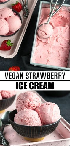 Get a fresh taste of summer with Vegan Strawberry Ice Cream! It requires just 5 ingredients and it's so easy to make. Just blend and chill the mixture, then let your ice cream maker work its magic!