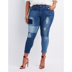 41b65372c60f7 Charlotte Russe Destroyed Patchwork Skinny Jeans ($25) ❤ liked on Polyvore  featuring jeans,